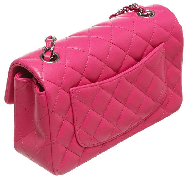 Chanel Mini Classic Flap Bag Pink Used back