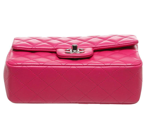 Chanel Mini Classic Flap Bag Pink Used Bottom