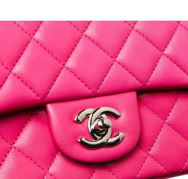 Chanel Mini Classic Flap Bag Pink Used Detail