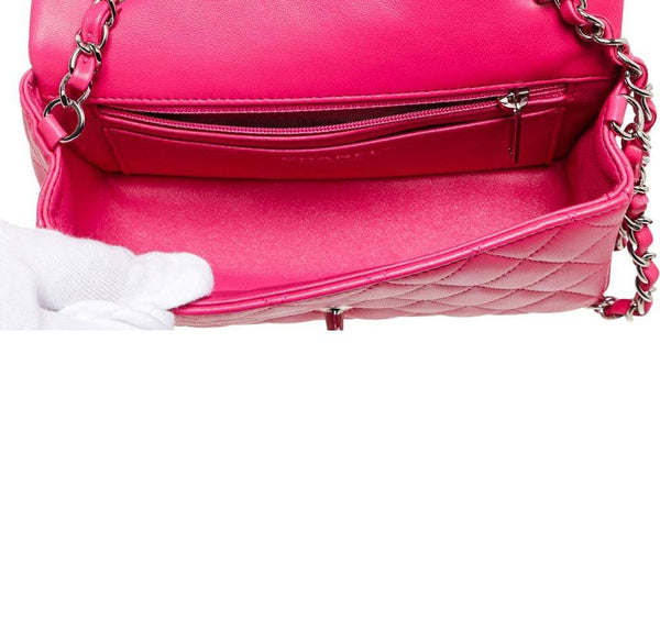 Chanel Mini Classic Flap Bag Pink Used Interior