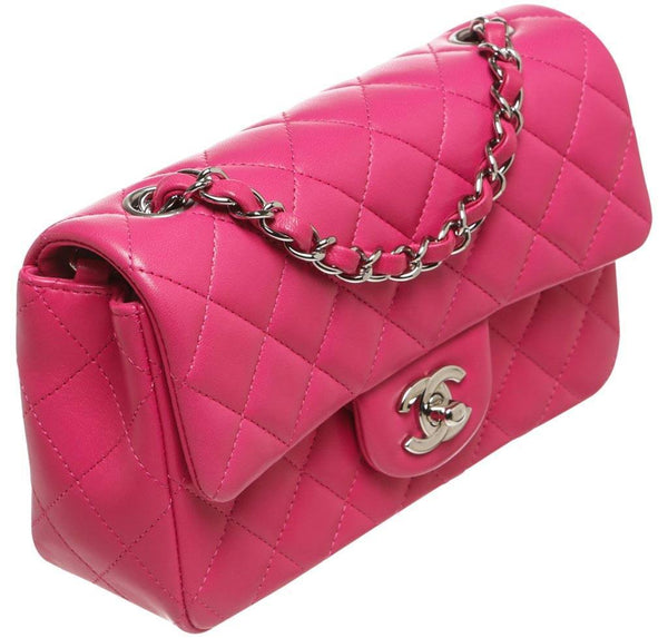 Chanel Mini Classic Flap Bag Pink Used Side