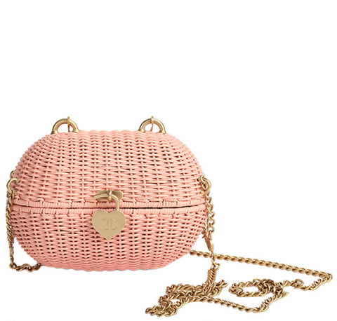 Chanel Wicker Shoulder Bag Pink