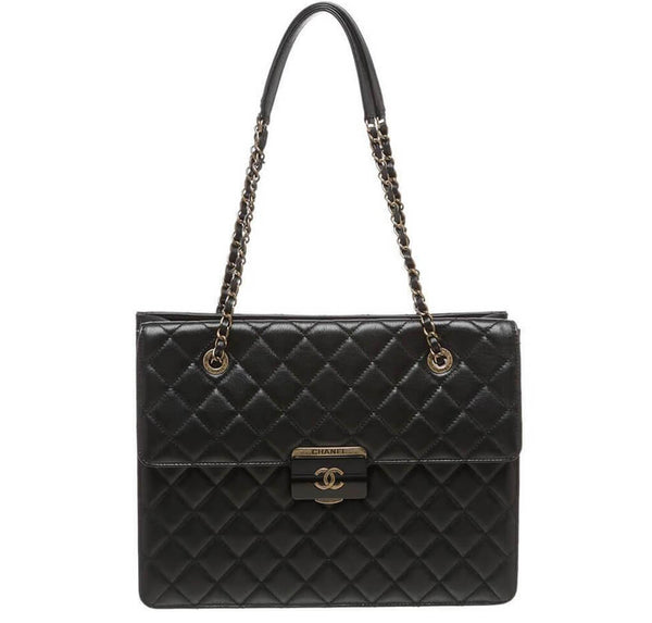 Chanel Quilted Tote Bag Black Lambskin