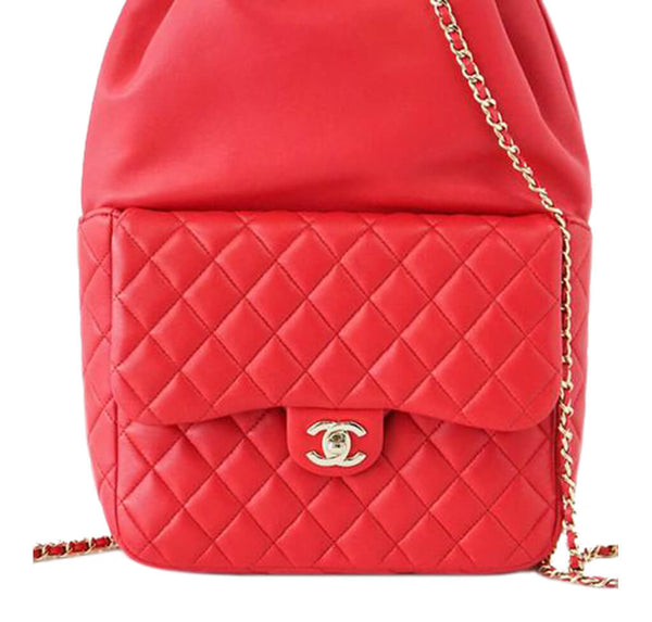 Chanel Classic Backpack Bag Red Lambskin