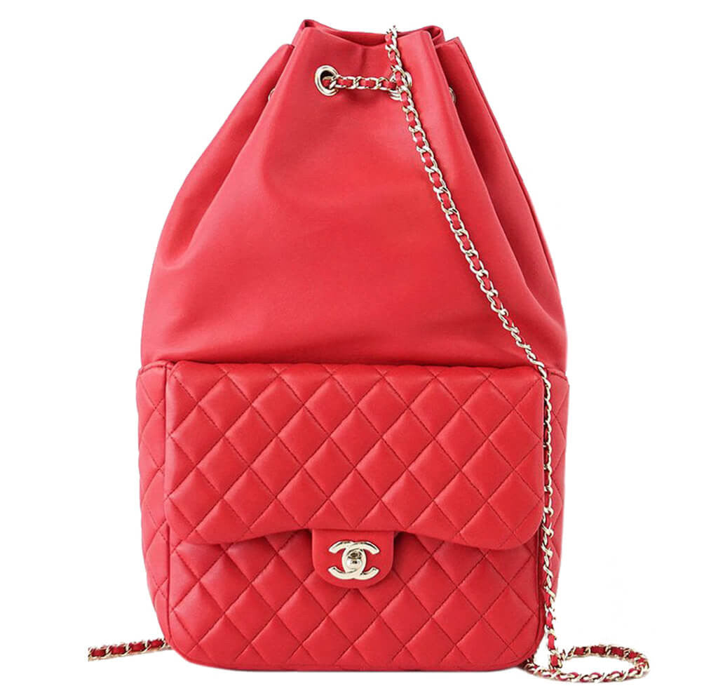 21db92b8db25 Chanel Classic Backpack Bag Red Lambskin Leather - Gold Hardware ...