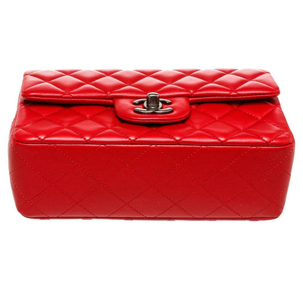 Chanel Mini Classic Flap Bag Red Used Bottom