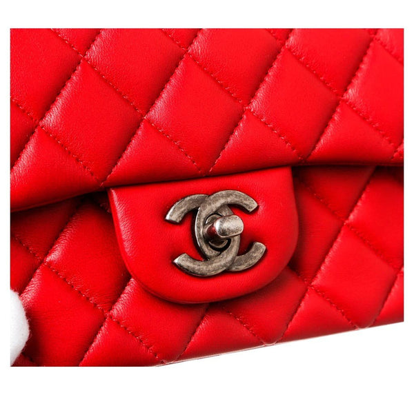 Chanel Mini Classic Flap Bag Red Used Detail
