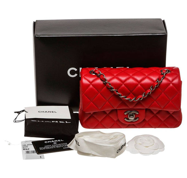Chanel Mini Classic Flap Bag Red Used Complete