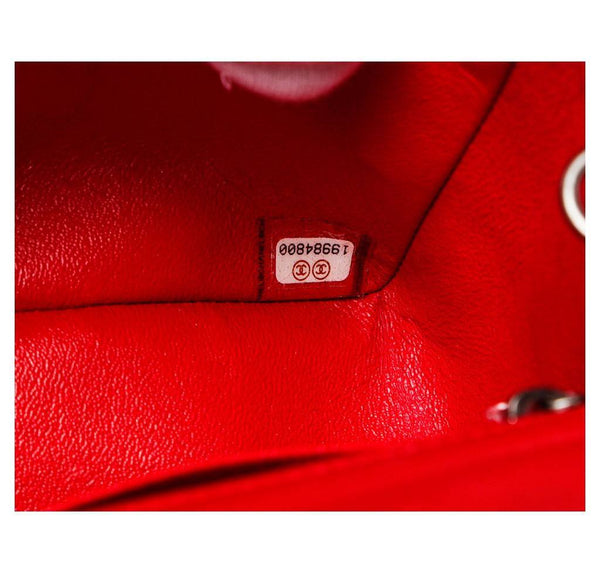 Chanel Mini Classic Flap Bag Red Used Serial Number