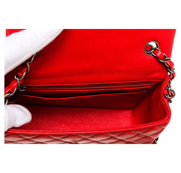 Chanel Mini Classic Flap Bag Red Used Interior