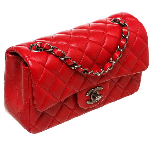 Chanel Mini Classic Flap Bag Red Used Side