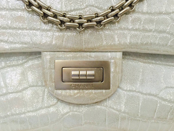 chanel reissue 2.55 bag silver metallic alligator used engraving