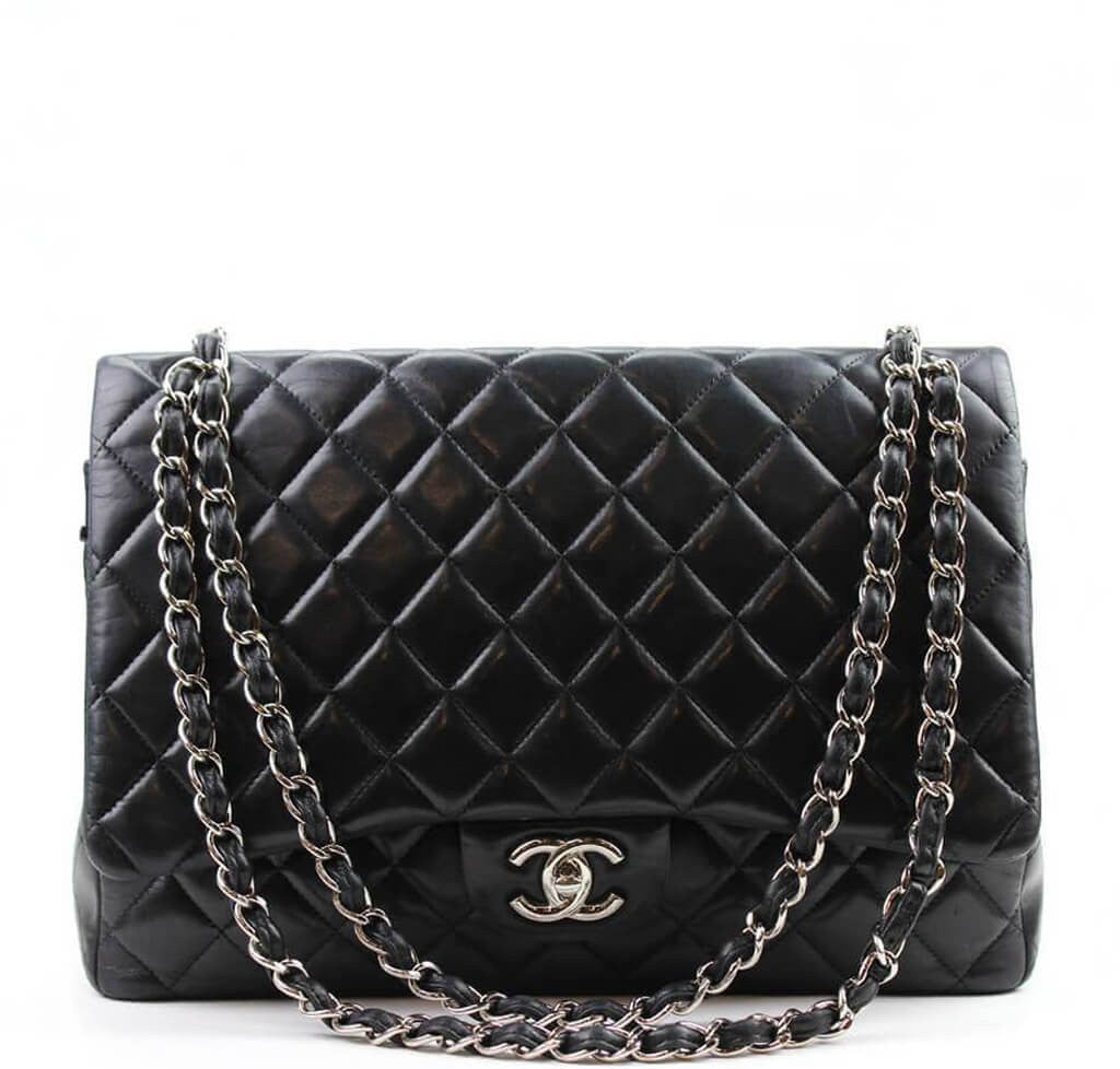 00a58f2fb839 Chanel Shoulder Flap Maxi Bag Black - Silver Hardware | Baghunter