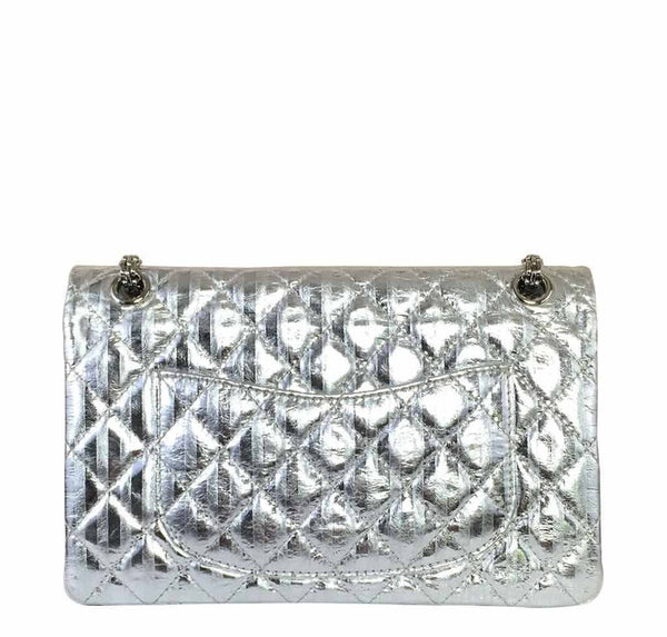 chanel silver mirror 225 flap bag reissue used back
