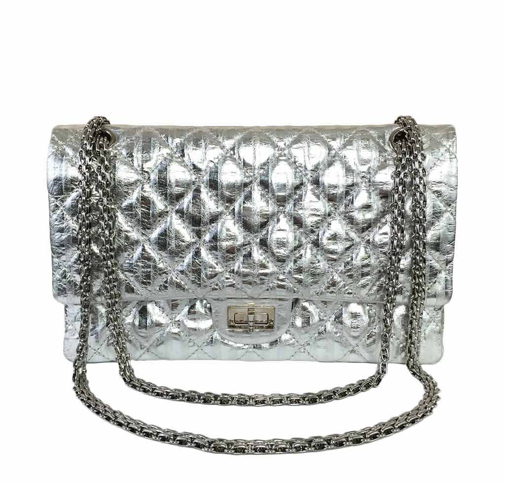 403b248608cf Chanel Silver Mirror 225 Flap Bag chanel silver mirror 225 flap bag reissue  used front ...