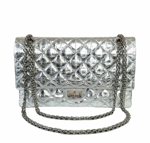 chanel silver mirror 225 flap bag reissue used front