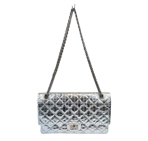 chanel silver mirror 225 flap bag reissue used full