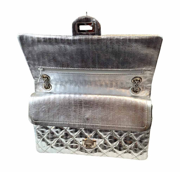 chanel silver mirror 225 flap bag reissue used open