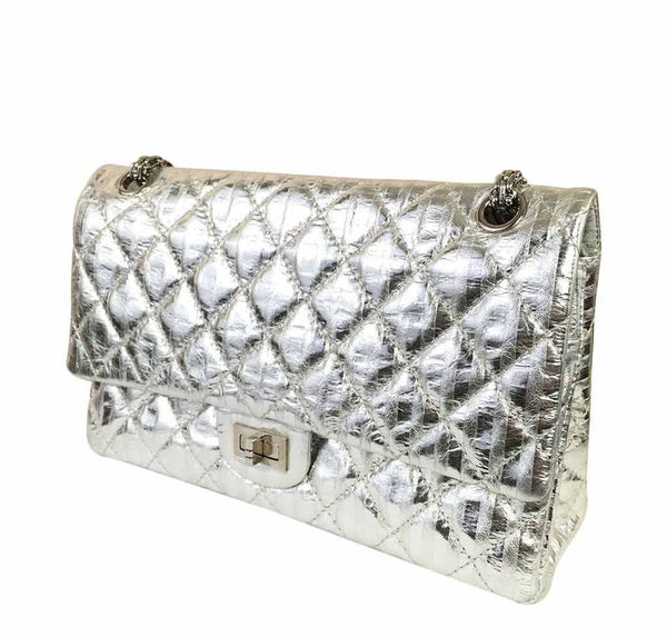 chanel silver mirror 225 flap bag reissue used side