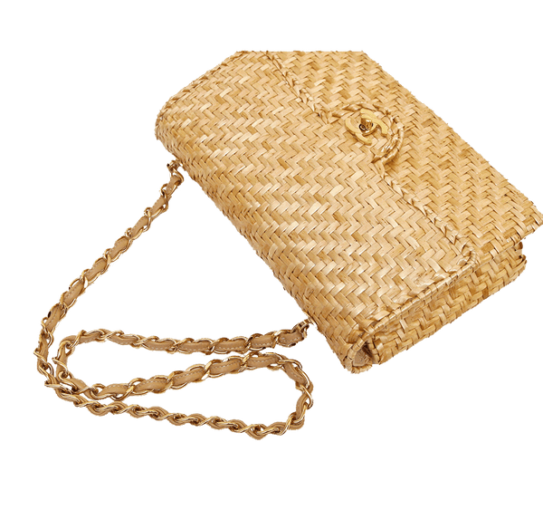 Chanel Classic Single Flap Rattan Wicker Used Top