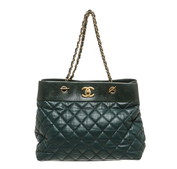 Chanel Quilted Tote Bag Green