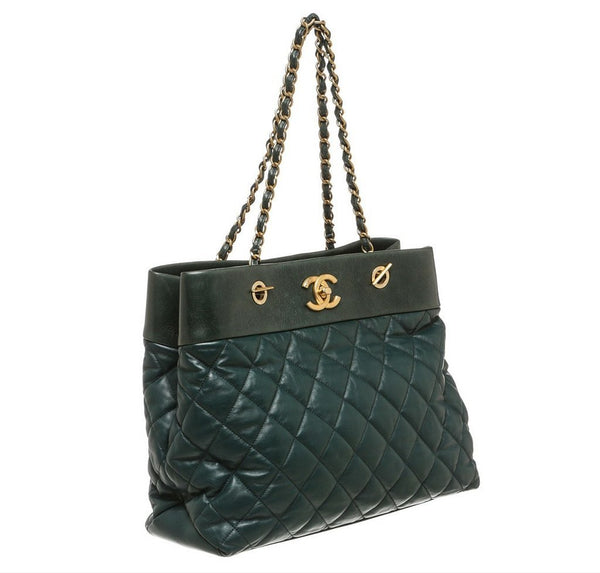 Chanel Quilted Tote Bag Green Lambskin Leather Baghunter