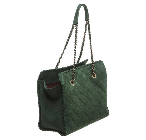 Chanel Whipstitch Tote Bag Green Used back
