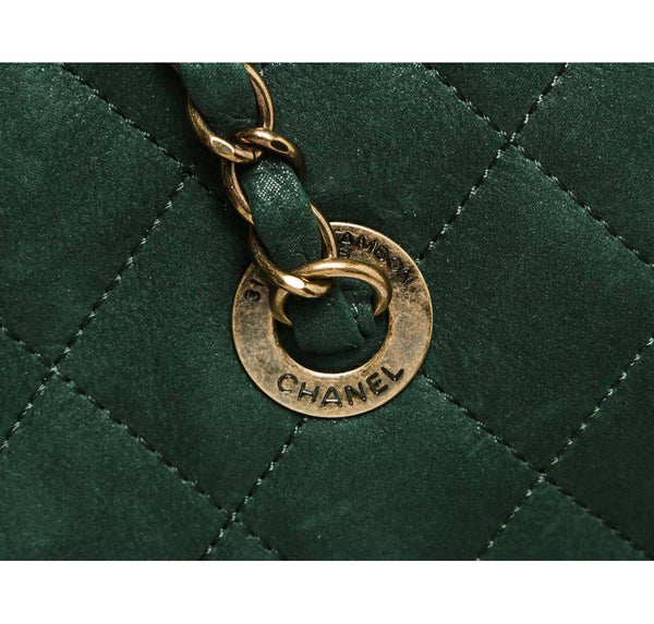 Chanel Whipstitch Tote Bag Green Used hardware