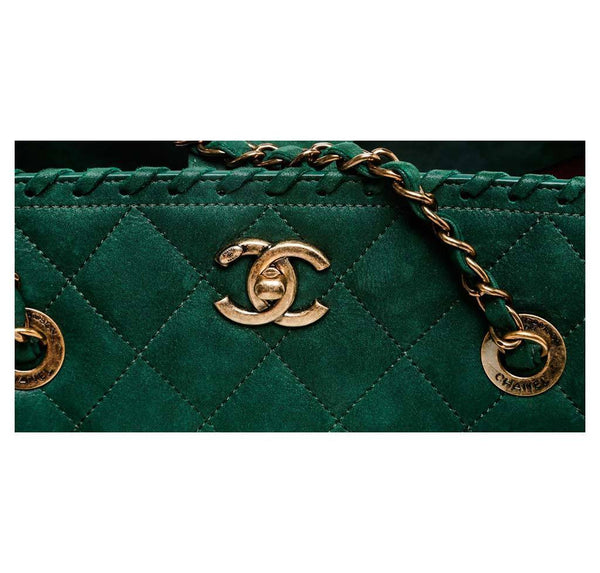 Chanel Whipstitch Tote Bag Green Used logo