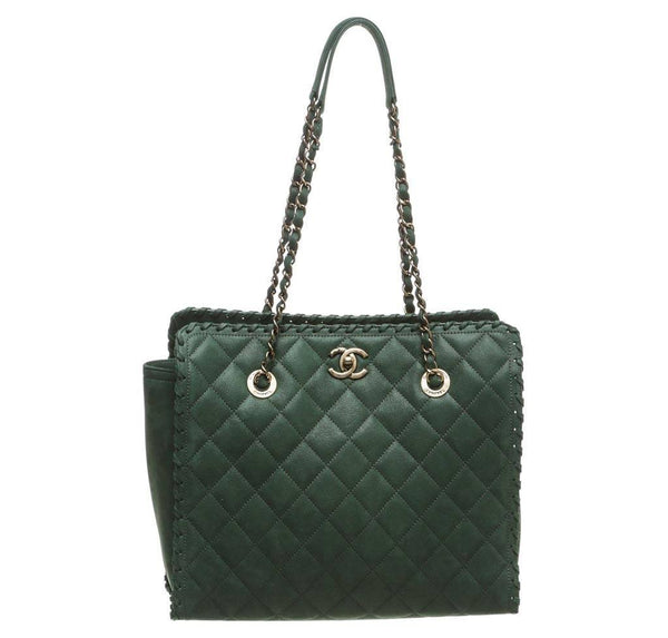 Chanel Whipstitch Tote Bag Green