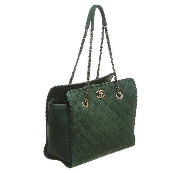 Chanel Whipstitch Tote Bag Green Used side