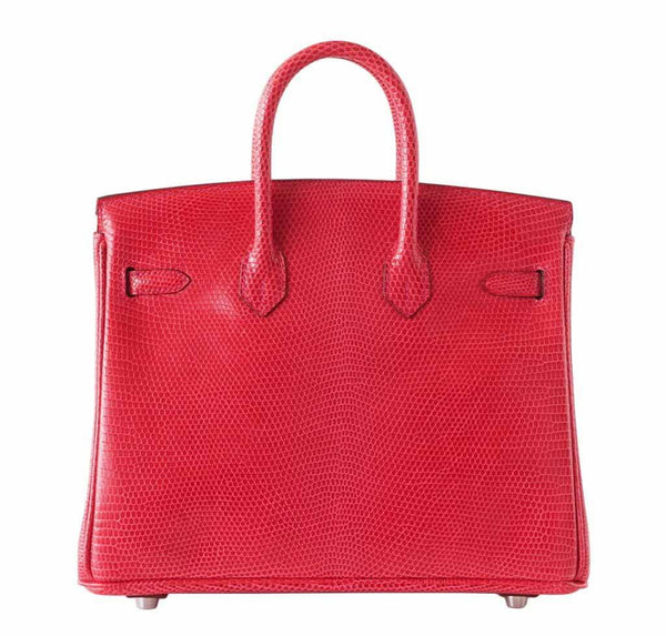 hermes birkin 25 rouge exotic lizard new back