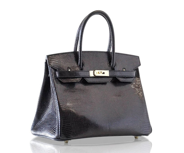 Hermès Birkin 30 Bag Noir Lizard Gold pristine side