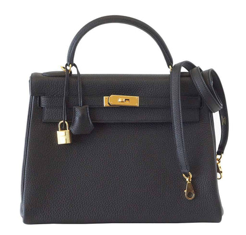 Hermes Kelly 32 Black Bag Togo