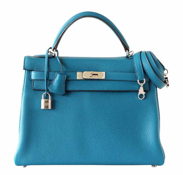 Hermes Kelly Blue Izmir Bag Togo