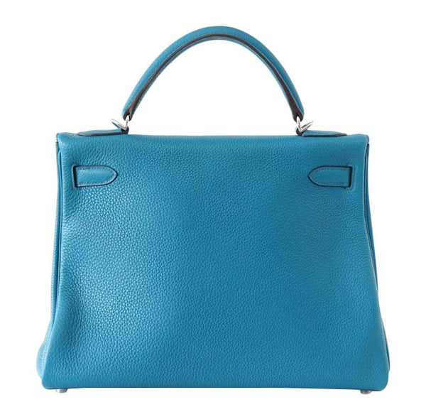 Hermes Kelly Mou 32 Blue Izmir new back