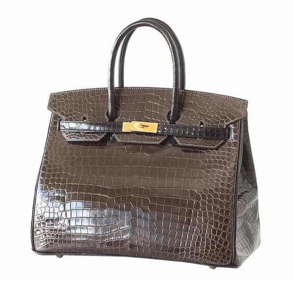 hermes birkin 35 bicolor porosus crocodile new front side