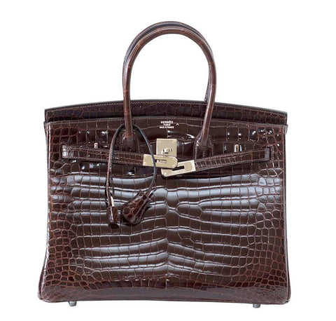 Hermes Birkin 35 Chocolate Crocodile Bag