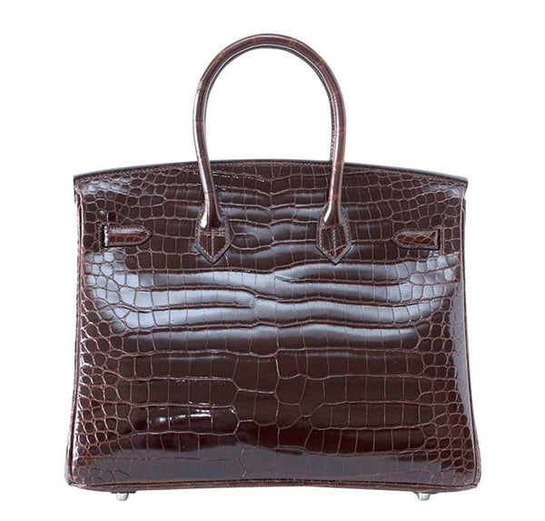 Hermes Birkin 35 Chocolate Crocodile new back