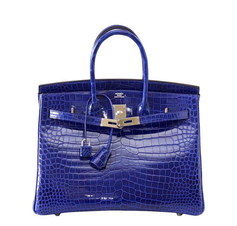 Hermes Birkin 35 Crocodile Blue Bag