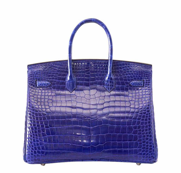 Hermes Birkin 35 Crocodile Electric Bleu new back