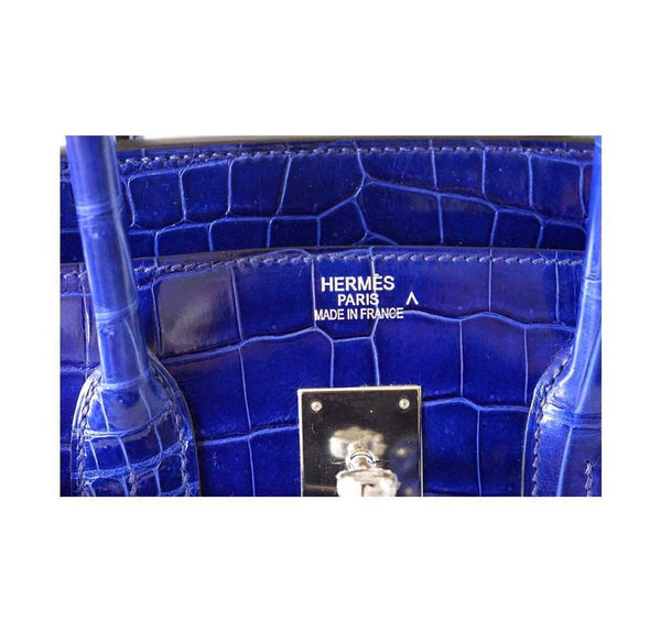 Hermes Birkin 35 Crocodile Electric Bleu new embossing