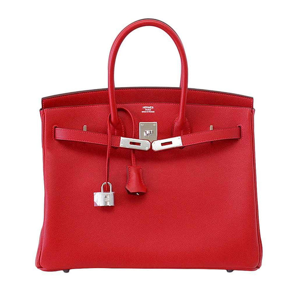 Hermes Birkin 35 Rouge Casaque new front open