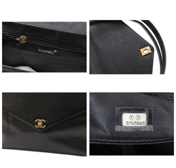 Chanel Shoulder Flap Bag Black Caviar