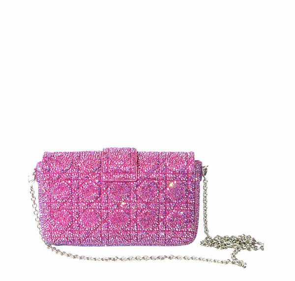 dior crystal pink bag customized used back