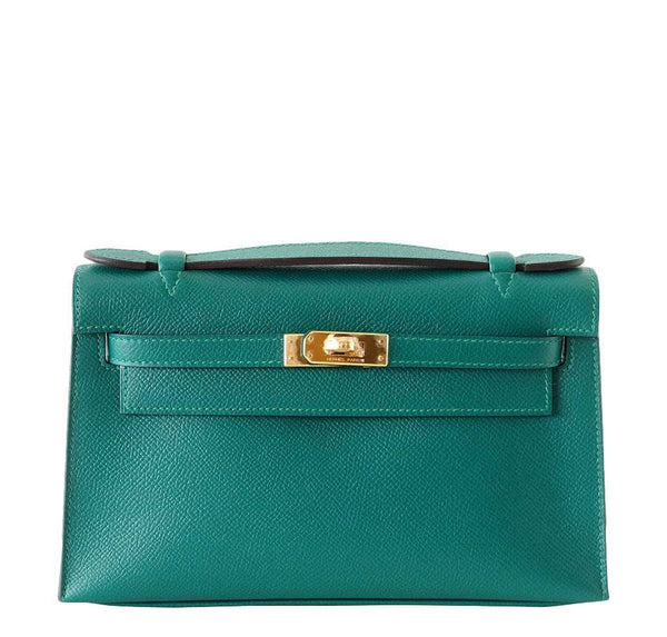 Hermes JPG Kelly Pochette Malachite Bag