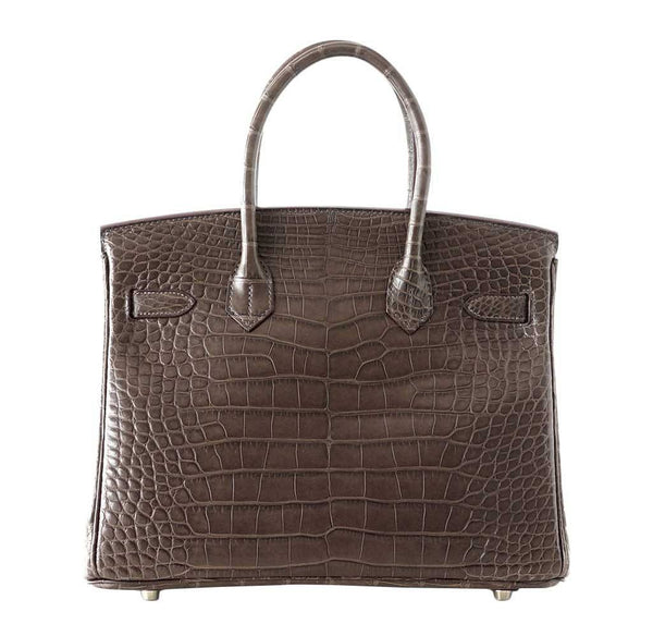hermes birkin 30 gris elephant alligator new back