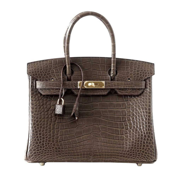 Hermes Birkin 30 Gray Alligator Bag