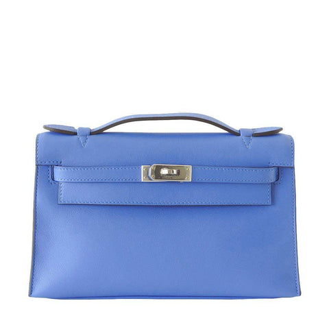 Hermes JPG Kelly Pochette Blue Bag