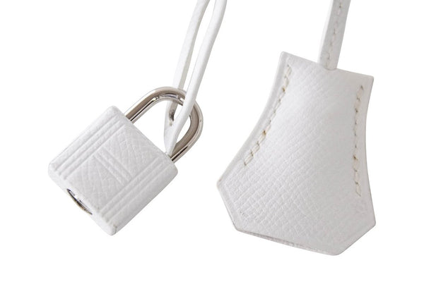 Hermes Kelly Sellier HSS 25 White Epsom Palladium excellent lock keys clochette